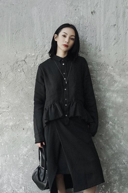 Chiyoko Long Sleeve Ruffles Shirt - Black