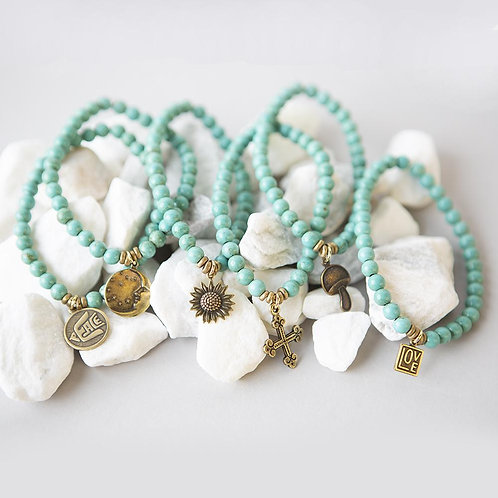 DIY Turquoise Charm Bracelet Kit