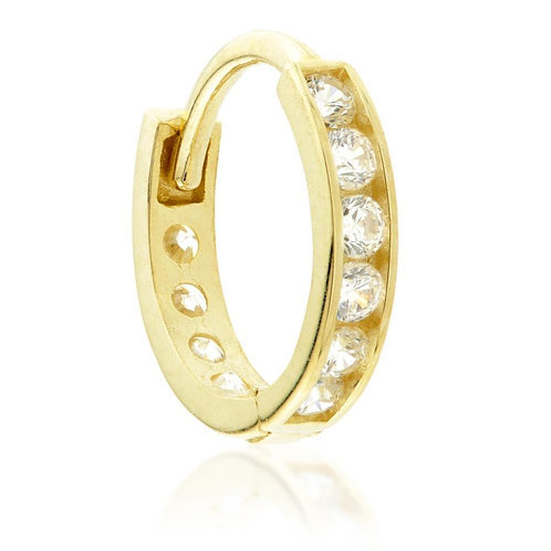 9ct Gold Channel Crystal Cartilage Huggie Earring