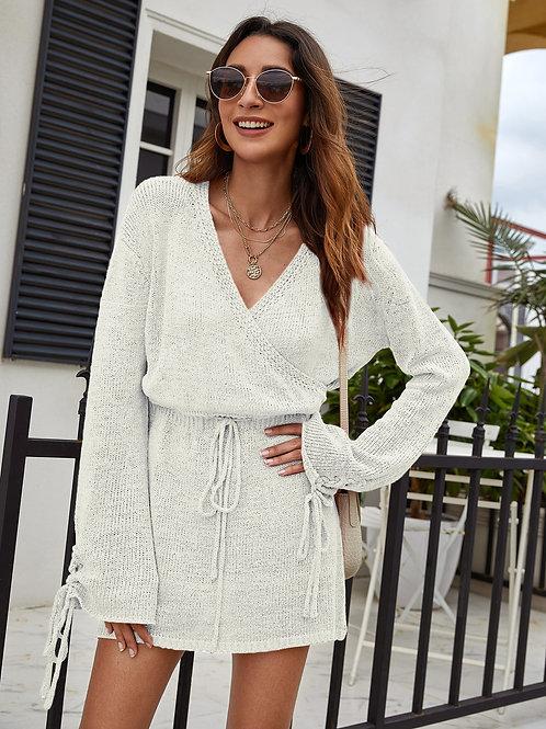 AVICII SWISS Lace Up Cuff Drawstring Waist Sweater Dress