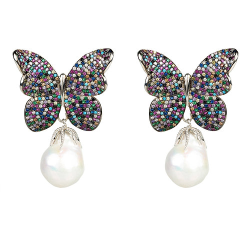 Baroque Pearl Multi Coloured Butterfly Earrings Silver
