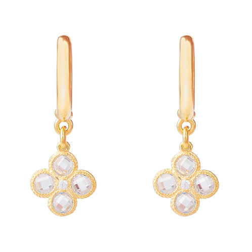 Flower Clover Small Drop Earrings Gold
