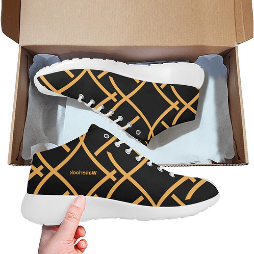Black Golden Color Print Wakerlook Men's  Shoes