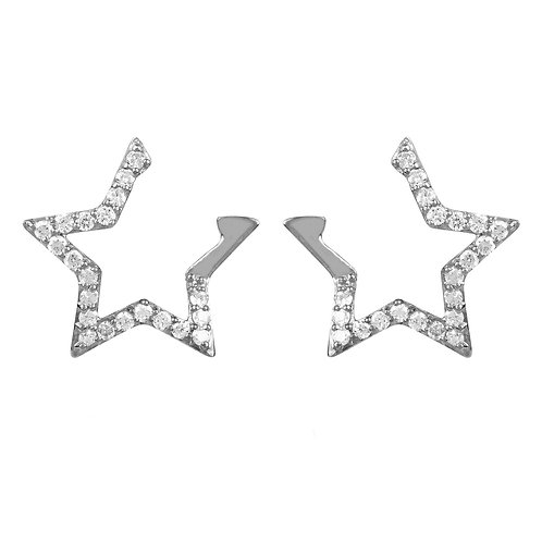 Diamond Open Star Earrings Silver