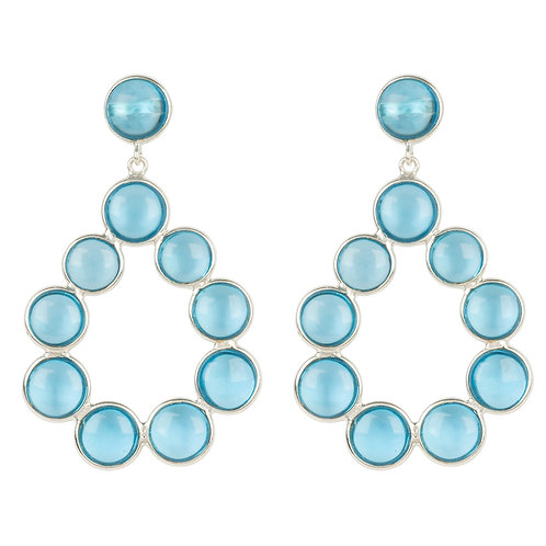 Hatun Gemstone Statement Earrings Silver Blue Topaz Hydro