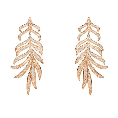 Feathered Leaf Statement Drop Earring Rosegold