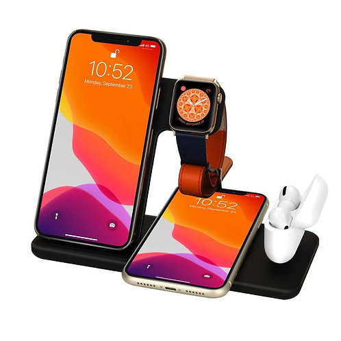15W Qi Fast Wireless Charger Stand For iPhone 11 12 X 8 Apple Watch 4 in 1 Fold