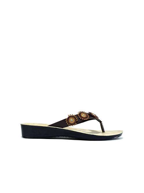Triple Flower Flip Flop Black/Brown
