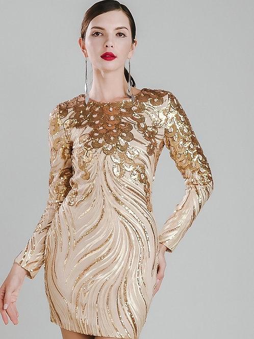 Gold Sequin Embellished Dress AVICII SWISS Evelyn Belluci Collaboration