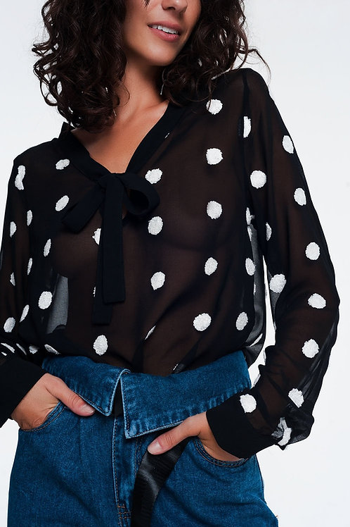 Chiffon Polka Dot Shirt Q2- AVICII SWISS COLLABORATION