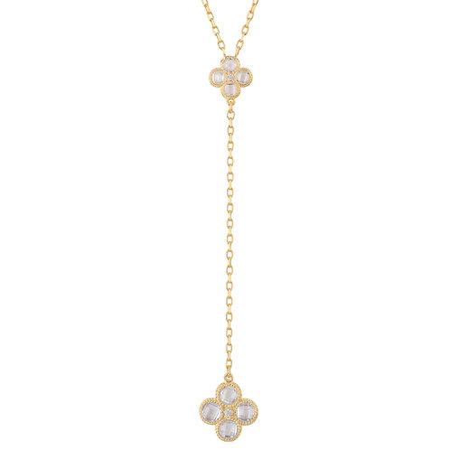 Flower Clover Double Drop Pendant Necklace Gold