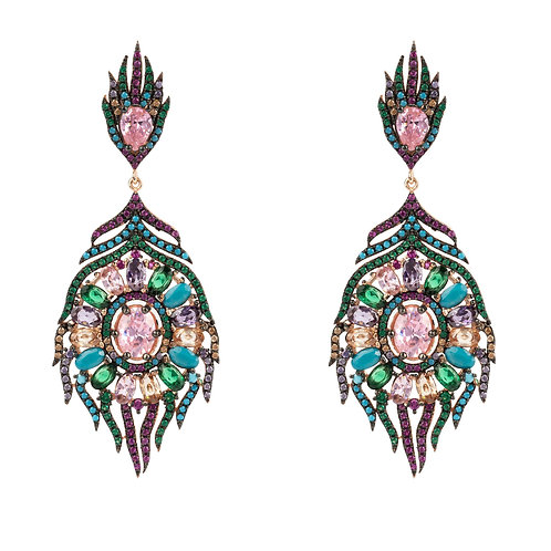 Peacock Colourful Feather Gemstone Earring Rose Gold