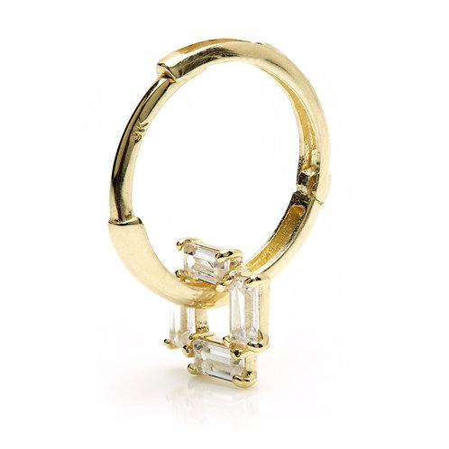 9ct Gold Crystal Square Pendant Huggie Earring