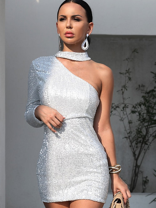 AVICII SWISS Silver Sequin Party Dress