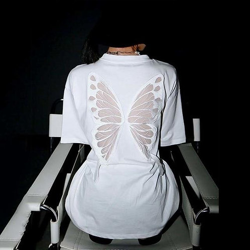 Taru Back Mesh Wings Long Shirt - White