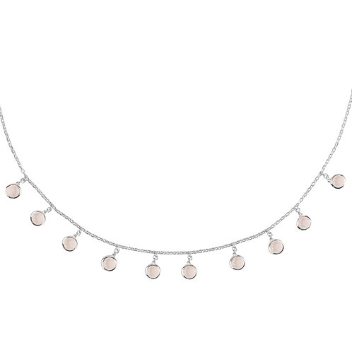 Florence Round Gemstone Necklace Silver Rose Quartz