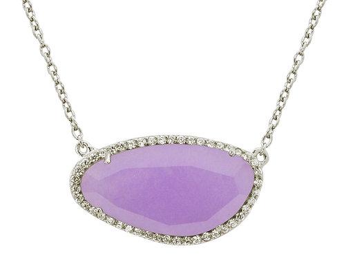 Purple Stone Slice Necklace
