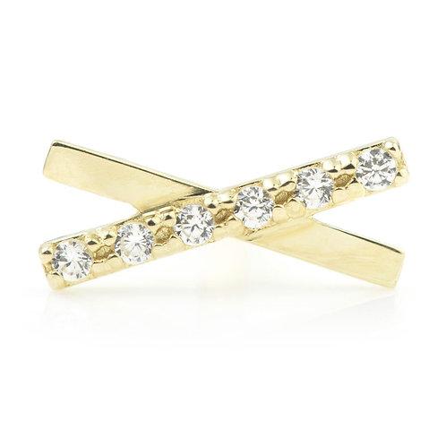 9ct Gold Crystal Bar Cross Cartilage Bar