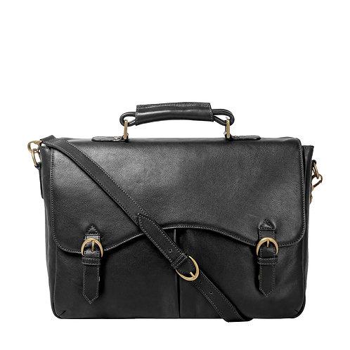 "Hawkins Leather 15"" Laptop Compatible Briefcase Work Bag"