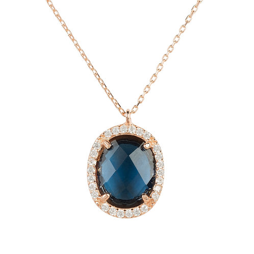 Beatrice Oval Gemstone Pendant Necklace Rose Gold Sapphire Hydro