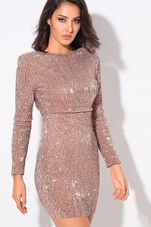 AVICII SWISS Champagne Sequin Mini Dress