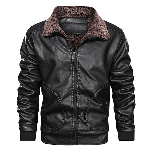 Leather Jackets Winter Fleece Thick Men Jacket European Size Dropshipping