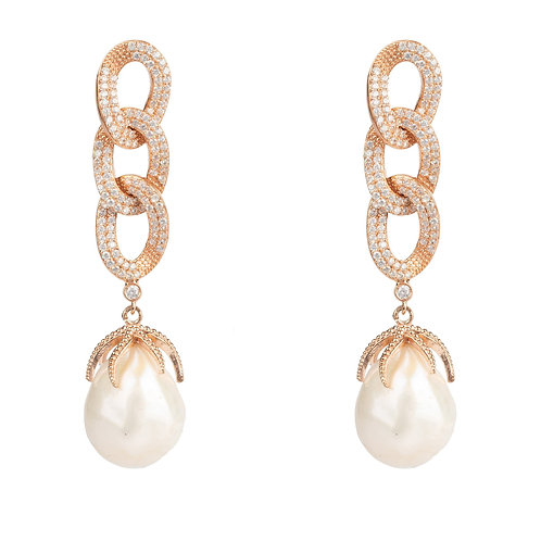 Baroque Pearl Link Chain Drop Earring Rosegold