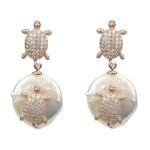 Turtle Mini Coin Pearl Drop Earring Rose Gold