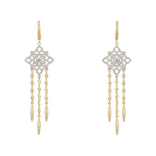 Celtic Knot Diamond Dream Catcher Earrings Gold