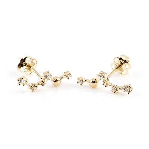 9ct Gold Gem Constellation Ear Climber Earrings