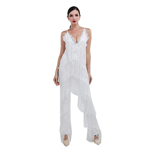 White Tassel Jumpsuit AVICII SWISS - Evelyn Belluci Collaboration