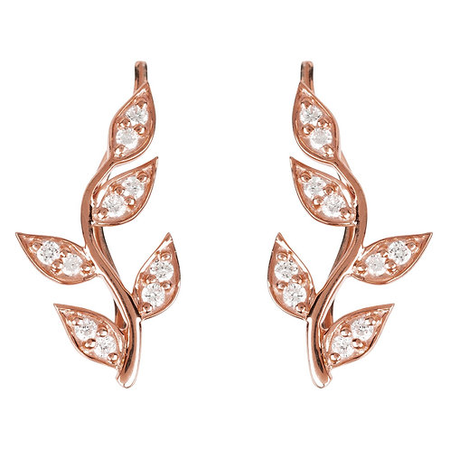 Diamond Leaf Ear Climber Rosegold