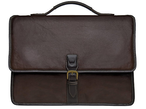 Harrison Buffalo Leather Laptop Briefcase