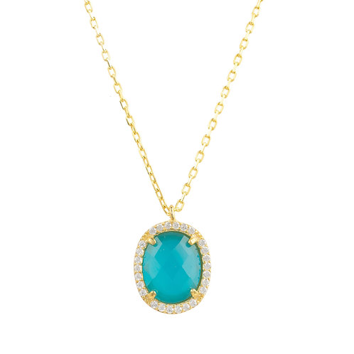 Beatrice Oval Gemstone Pendant Necklace Gold Dark Blue Chalcedony
