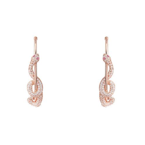 Cleopatra Serpent Snake Hoop Earrings Rose Gold