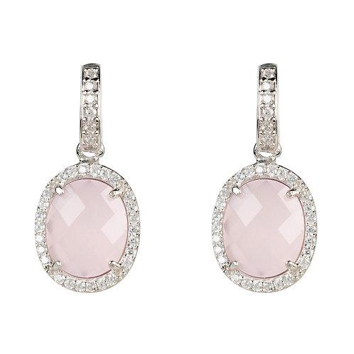 Beatrice Oval Gemstone Drop Earrings Silver Rose Quartz