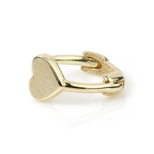 9ct Gold Heart Disk Tiny Cartilage Hoop Earring