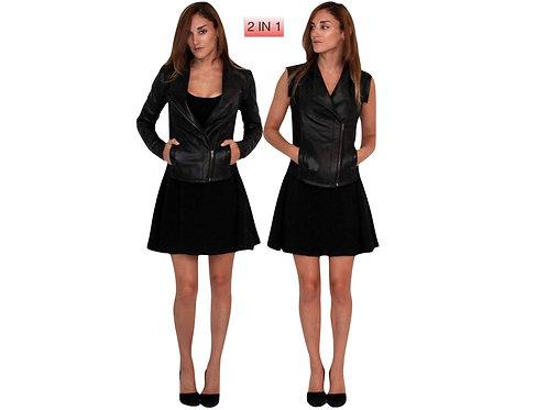 Multi-Wear Blake Leather Jacket / Vest Combo