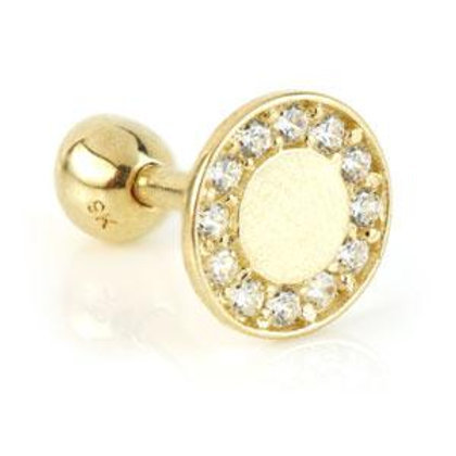 9ct Gold Flat Round Disk and Gem Surround Microbar - 1.2mm