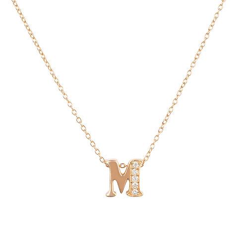 Diamond Initial Letter Pendant Necklace Rose Gold M