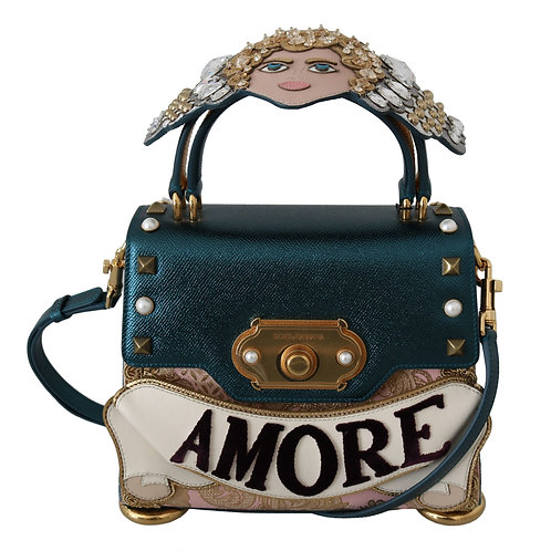 Dolce & Gabbana Blue Leather Angel Amore Crossbody WELCOME  Purse