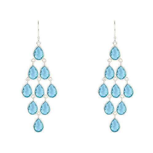 Erviola Gemstone Cascade Earring Silver Blue Topaz Hydro