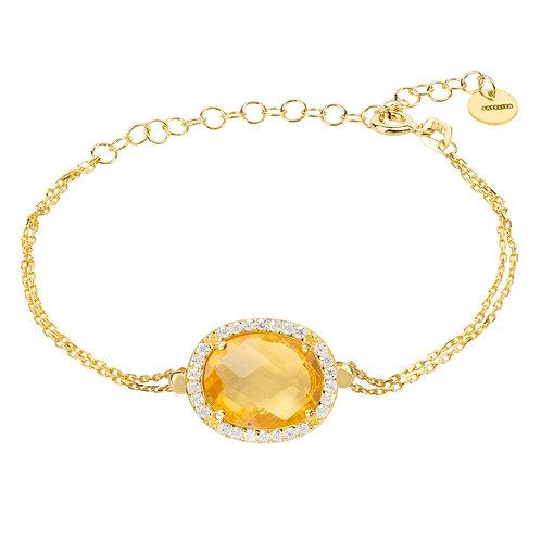 Beatrice Oval Gemstone Bracelet Gold Citrine Hydro