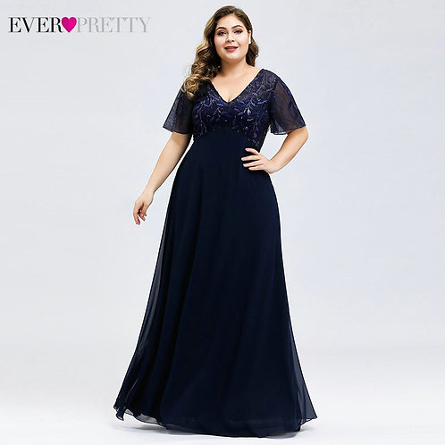 Sequined Evening Dresses Plus Size A-Line V-Neck Short Sleeve Dresses for Party