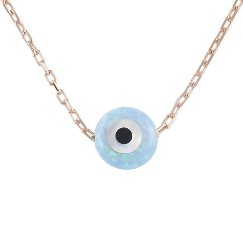 Evil Eye Mini Opalite Necklace Rosegold
