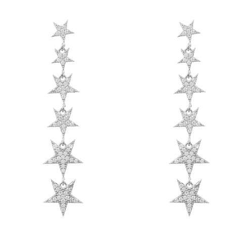 Graduated Star Drop Earring Sterling Silver