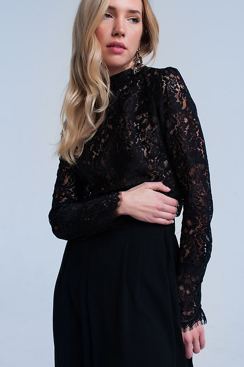 Black Transparent Lace Shirt Q2- AVICII SWISS COLLABORATION