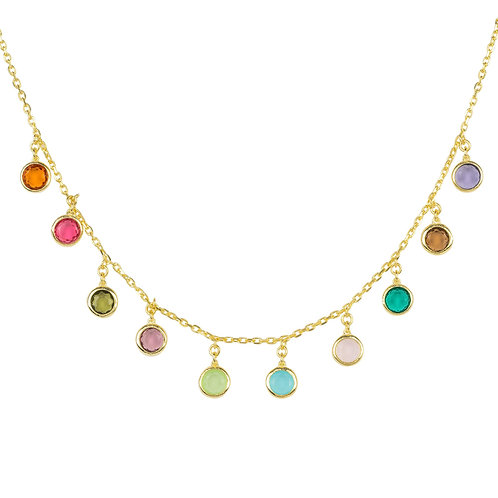 Florence Multi Coloured Gemstone Necklace Gold