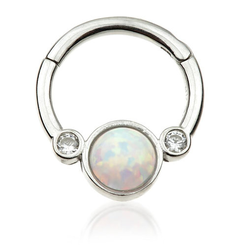 9ct White Gold Opal & Crystal 8mm Hinge Ring (1.2mm)