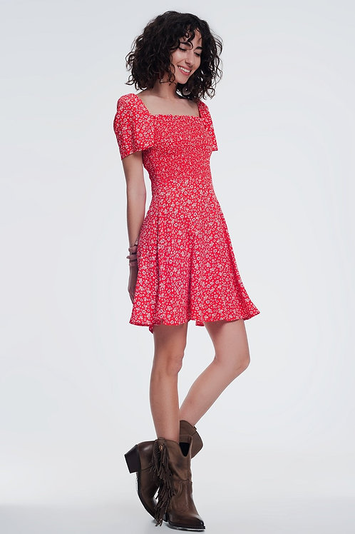 Red Floral Gathered Front Dress Q2- AVICII SWISS COLLABORATION